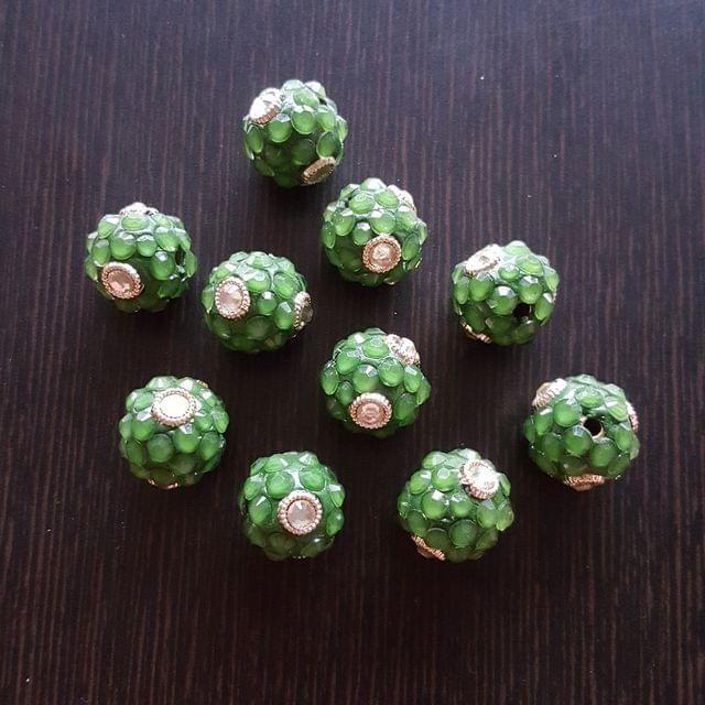 10pcs, Green, Takkar bead Spacers, 15mm