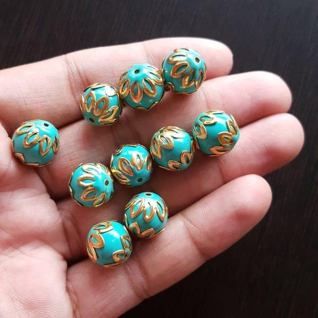 10pcs, Turquoise, Meenakari Balls, 12mm