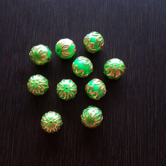 10pcs, Green, Meenakari Balls, 12mm
