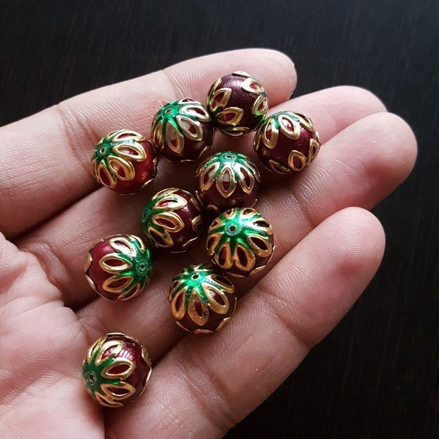 10pcs, Maroon Green, Meenakari Balls, 12mm
