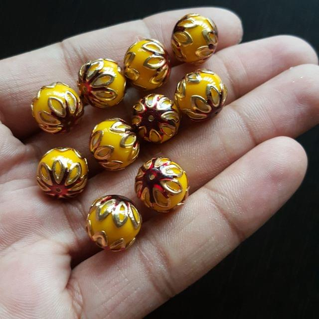 10pcs, Yellow Red, Meenakari Balls, 12mm