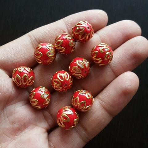 10pcs, Red, Meenakari Balls, 12mm