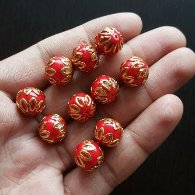 10pcs, Red, Meenakari Balls, 12mm