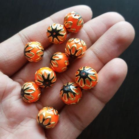 10pcs, Orange Black, Meenakari Balls, 12mm