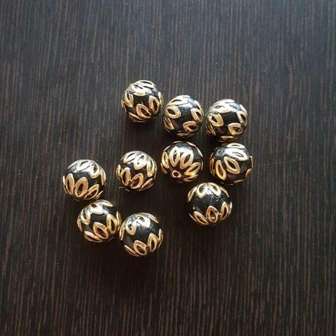 10pcs, Black, Meenakari Balls, 12mm