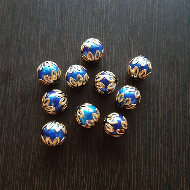 10pcs, Dark Blue, Meenakari Balls, 12mm