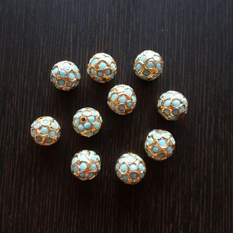 10pcs, Turquoise Jadau Balls, 12mm