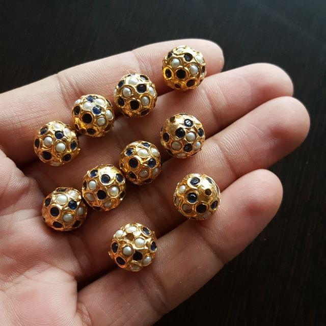 10pcs, Dark Blue Pearl Jadau Balls, 12mm