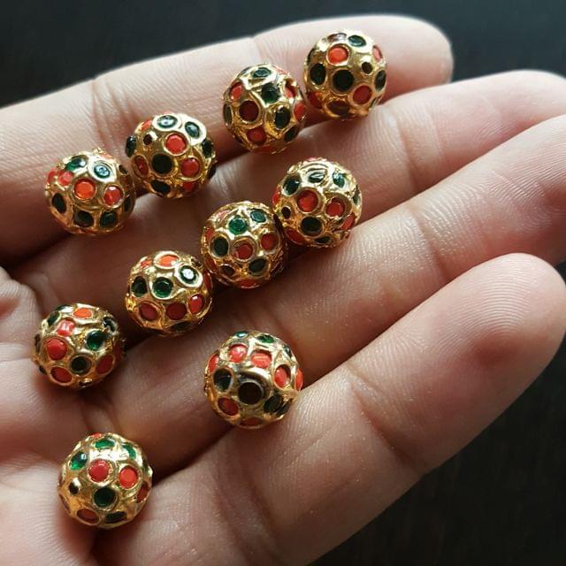10pcs, Moonga Green Jadau Balls, 12mm