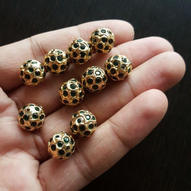 10pcs, Dark Green Jadau Balls, 12mm