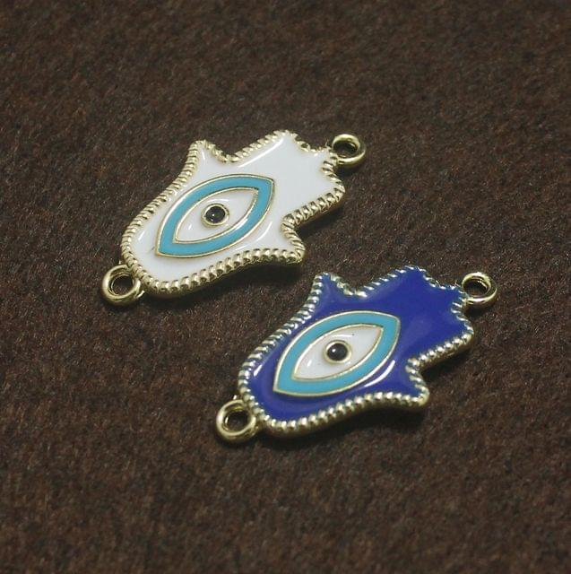 White and Blue Evil Eye Hamsa Hand Connectors 2 Pcs, 32x19mm