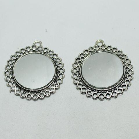 5 Pairs Silver Mirror Earring Components 37mm
