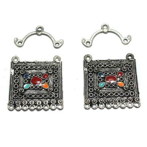 5 Pairs Silver Earring Components 32mm