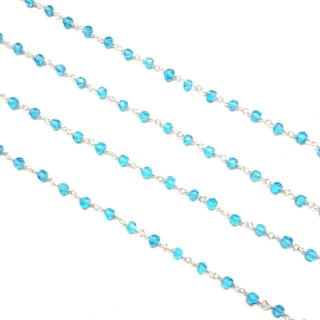 4mm, Blue Faceted Silver Polish Bead Chain, 3 meter