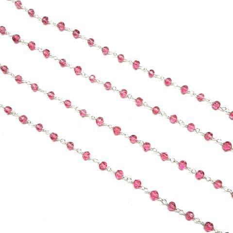 4mm, Fuchsia Faceted Silver Polish Bead Chain, 3 meter