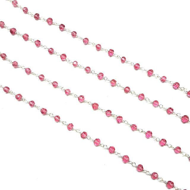 4mm, Fuchsia Faceted Silver Polish Bead Chain, 3 meter
