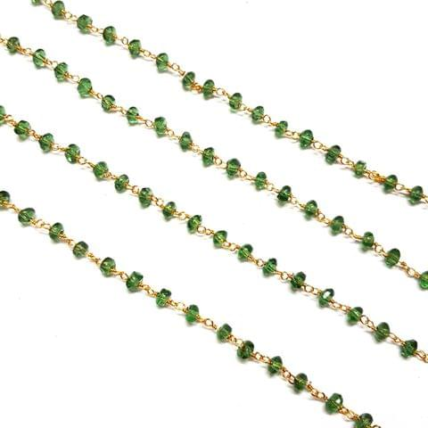 3.5-4mm, Green Faceted Golden Polish Bead Chain, 3 meter