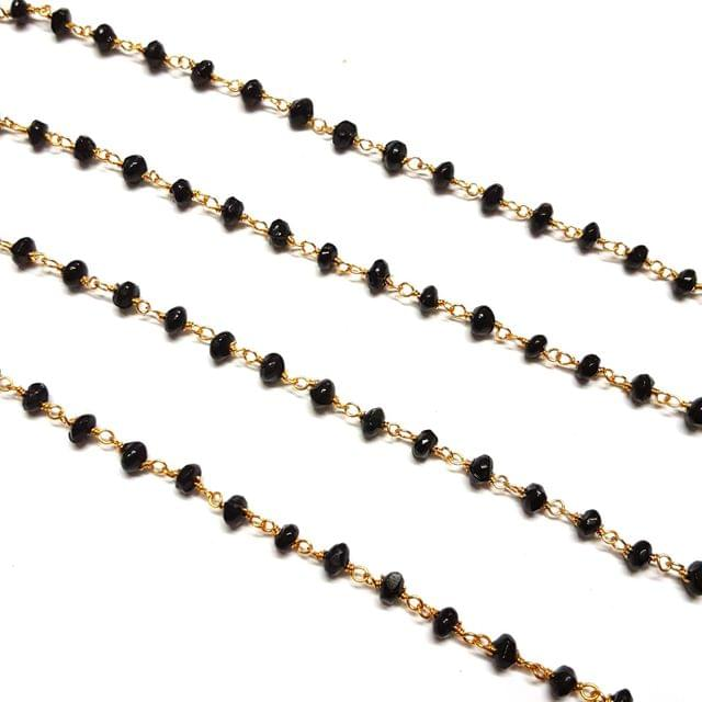 3.5-4mm, Black Faceted Golden Polish Bead Chain, 3 meter