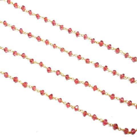 3.5-4mm, Fuchsia Faceted Golden Polish Bead Chain, 3 meter