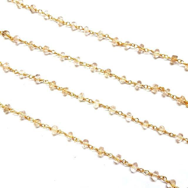 3.5-4mm, Dark Baby Pink Faceted Golden Polish Bead Chain, 3 meter