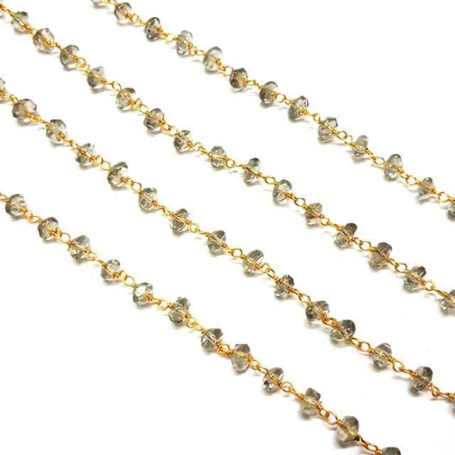 3.5-4mm, Grey Faceted Golden Polish Bead Chain, 3 meter