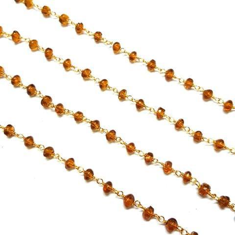 3.5-4mm, Golden Faceted Golden Polish Bead Chain, 3 meter