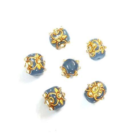 4Pcs, Handpainted Kundan Blue Beads, 15x12mm