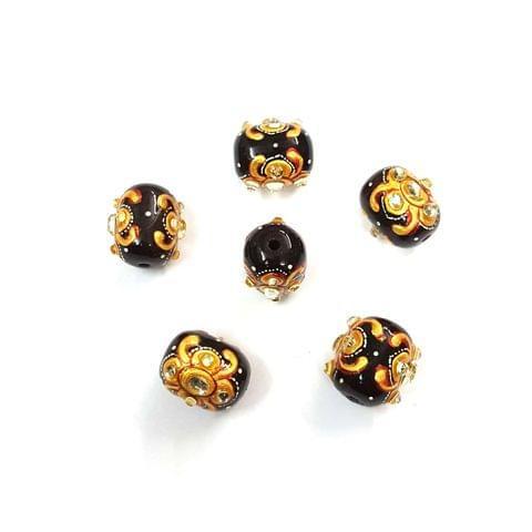 4Pcs, Handpainted Kundan Black Beads, 15x12mm