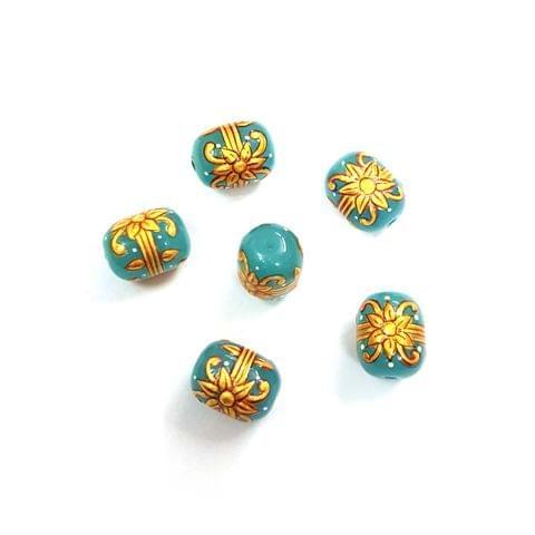 4Pcs, Handpainted Sky Blue Beads, 15x12mm