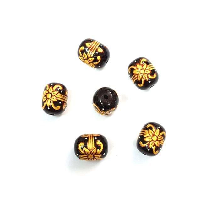 4Pcs, Handpainted Dark Purple Beads, 15x12mm