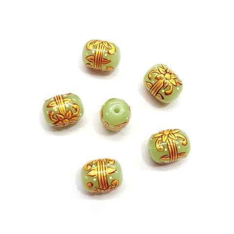 4Pcs, Handpainted Light Green Beads, 15x12mm