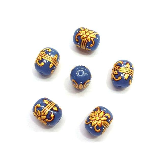 4Pcs, Handpainted Dark Blue Beads, 15x12mm