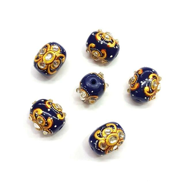 4Pcs, Handpainted Kundan Dark Blue Beads, 15x12mm