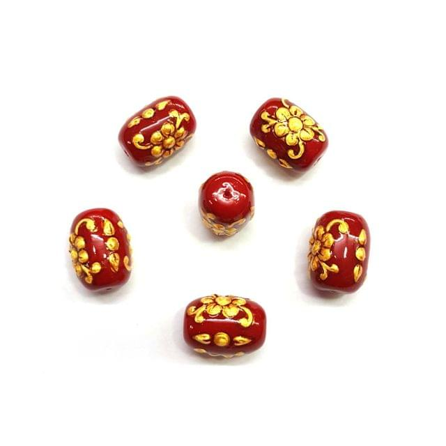 4Pcs, Handpainted Red Beads, 11x16mm