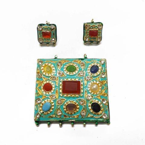Navratana Pendant Set, Pendant - 2.25 inch, Earrings - 0.75 inch