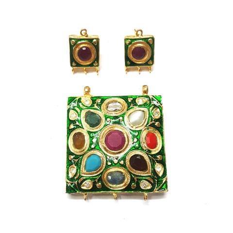 Navratana Pendant Set, Pendant - 1.75 inch, Earrings - 0.75 inch