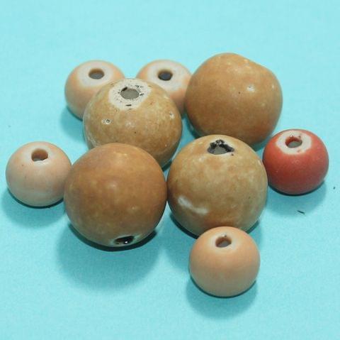 40 Pcs Ceramic Beads Matte Finish Assorted 27-9 mm