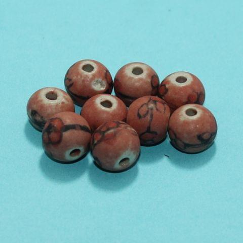 20 Pcs Ceramic Beads Matte Finish Assorted 12x14 mm
