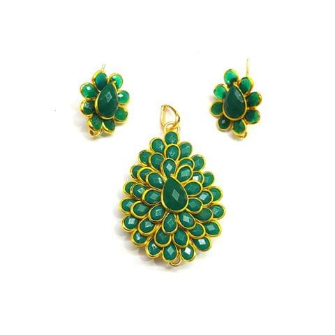 Green Pacchi Pendant, Pendant - 1.5 inches, Earrings - 0.75 inch