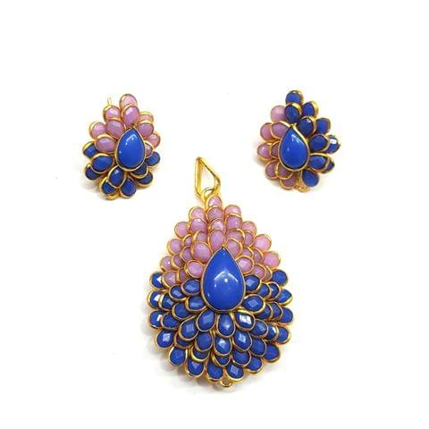 Purple Blue Pacchi Pendant, Pendant - 1.75 inches, Earrings - 1 inch