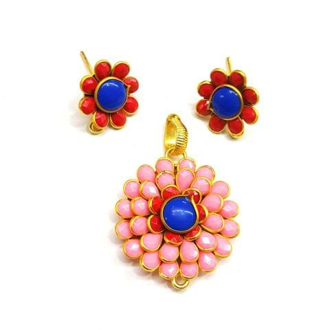 Baby Pink Pacchi Pendant, Pendant - 1.25 inches, Earrings - 0.75 inch