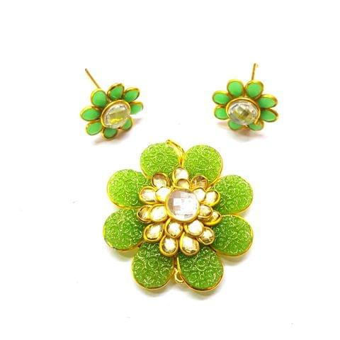 Parrot Green Carving Pacchi Pendant, Pendant - 1.5 inches, Earrings - 0.75 inch