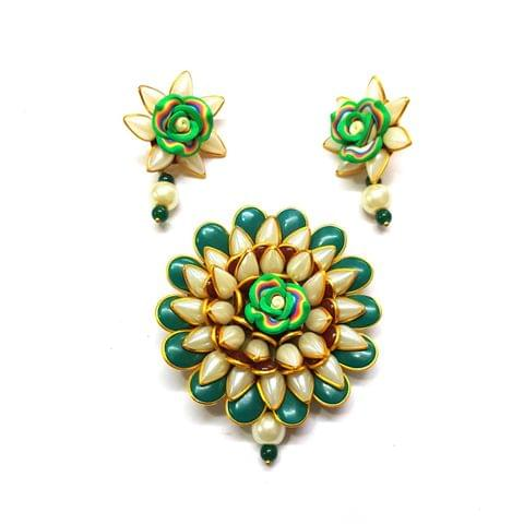 Green Pacchi Pendant, Pendant - 2.5 inches, Earrings - 1.5 inch