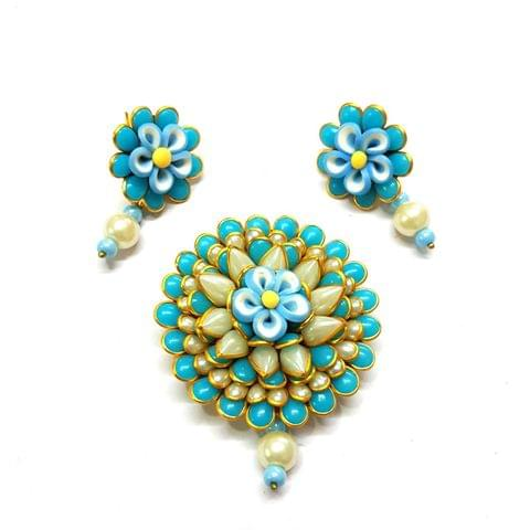 Sky Blue Pacchi Pendant, Pendant - 2.5 inches, Earrings - 1.5 inch