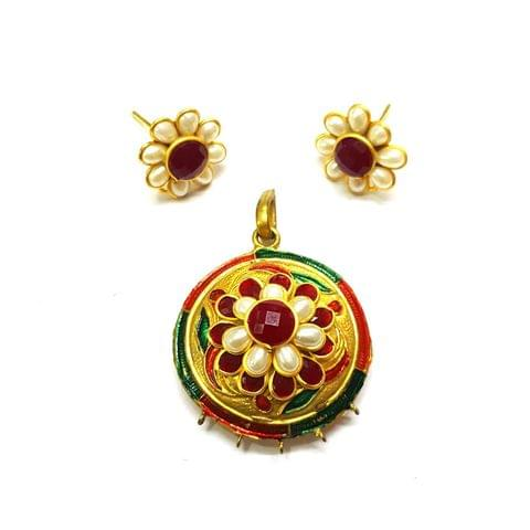 Antique Finish Pacchi Meena Pendant, Pendant - 1.75 inches, Earrings, 0.75 inch