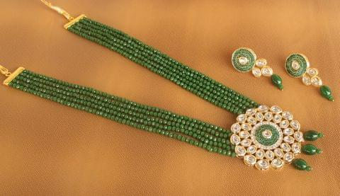 Crystal Beaded Kundan Necklace Set