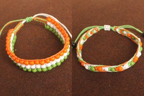 Adjustable Independence/Republic Day Indian Flag Tri-Colour Bracelets 2 Pcs Combo