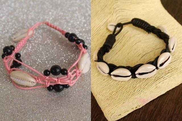 Adjustable Cowrie Shell Braided Bead Bracelets 2 Pcs Combo