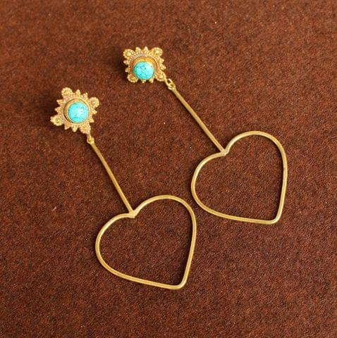 Gold Plated Gemstone Danglers Earring