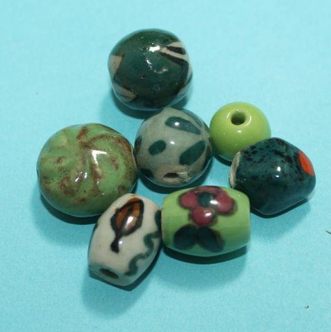 52 Pcs Ceramic Beads Assorted 19-11 mm